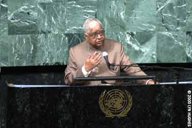 S.N. Goenka talking at the UN Peace Summit